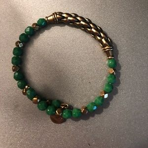 Alex and Ani green and gold bracelet